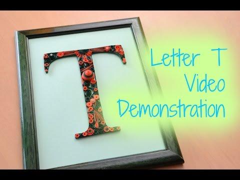 Framed Paper Quilling Letter T - Orange and Green