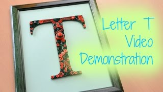 Framed Paper Quilling Letter T - Orange and Green