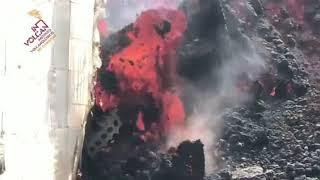 Coladas de lava discurriendo por La Palma hacia el barrio de La Laguna