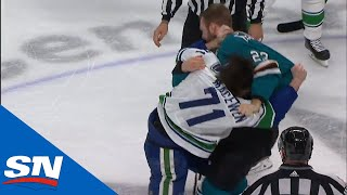 Zack MacEwen and Barclay Goodrow Drop The Gloves Right After Logan Couture Lights The Lamp