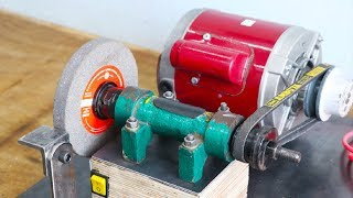 Make A Motor Powered Grinding Machine || Homemade Grinder || Part 1
