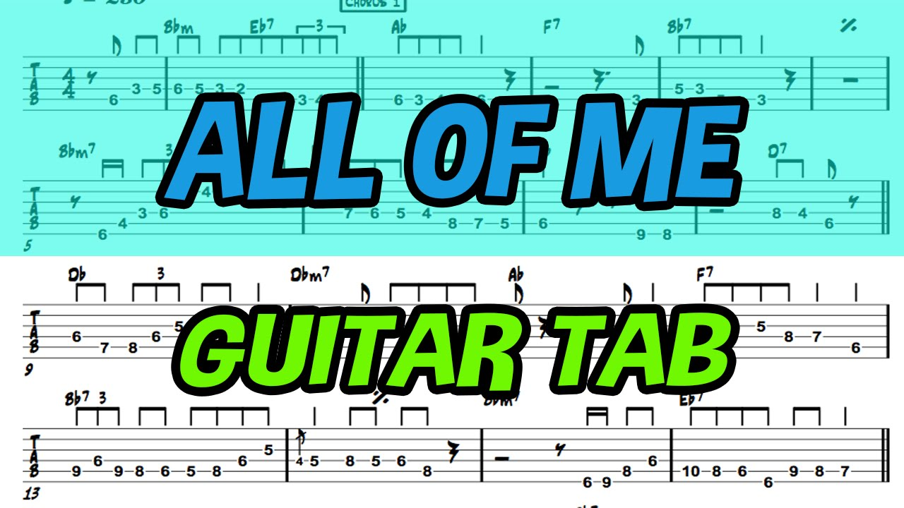 Learn How To Play All Of Me Fingerstyle Acoustic Guitar Lesson Tabs
