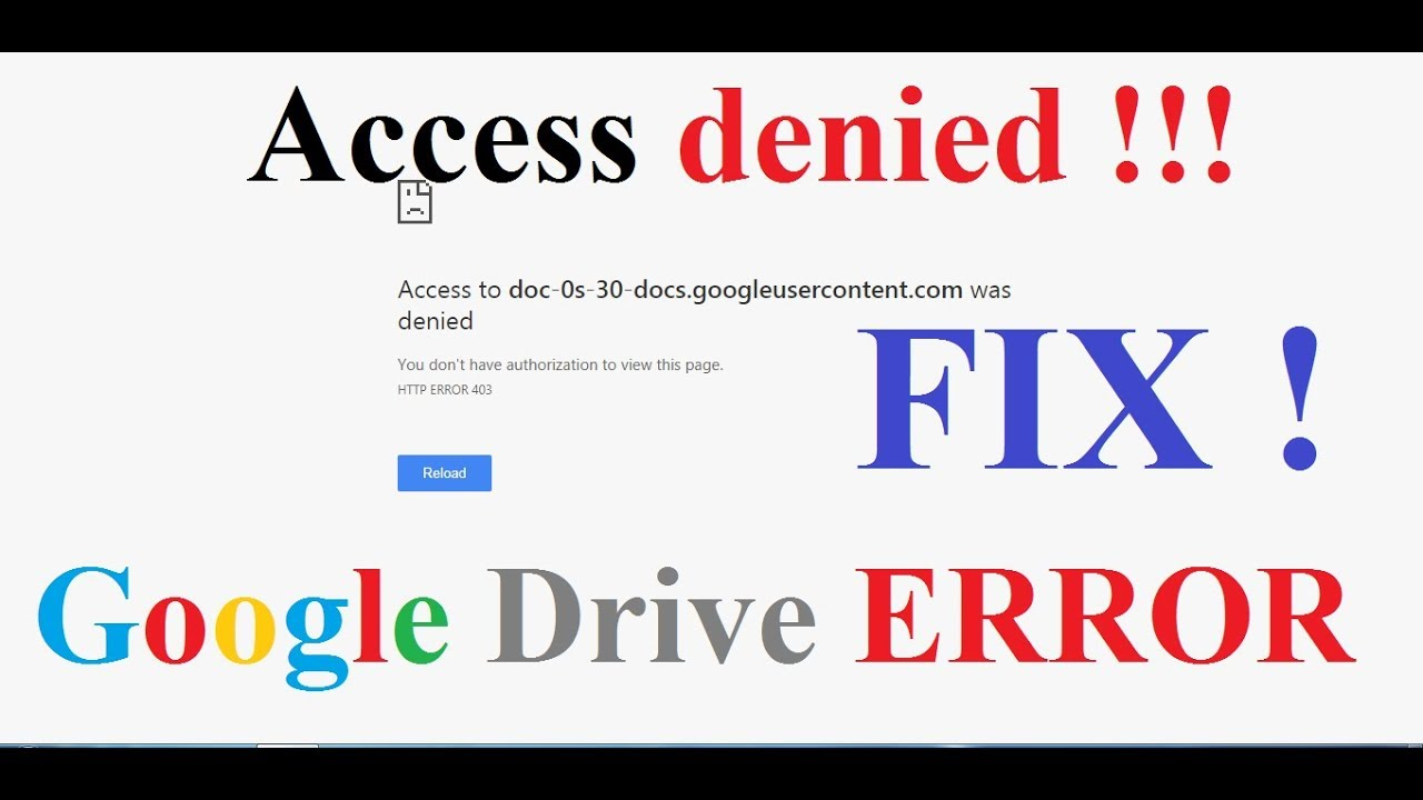 Access Denied | You don't have authorization to view this page | Google  Drive Error Fix