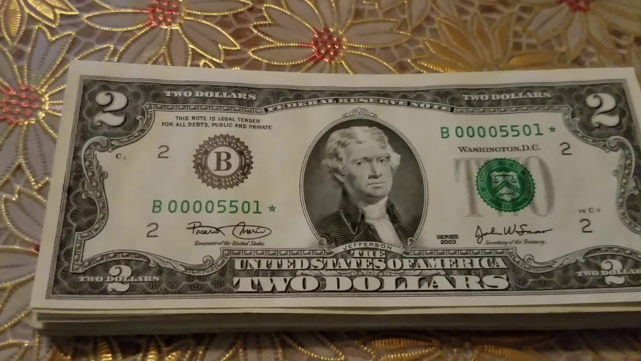 Low Serial number 2 dollar star note