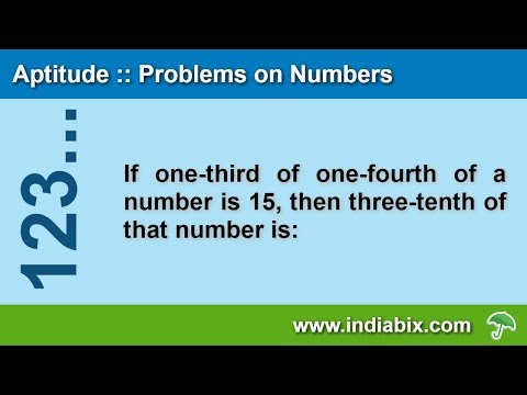 If One-third Of One-fourth Of A Number Is 15 |  Problems On Numbers | Aptitude | IndiaBIX