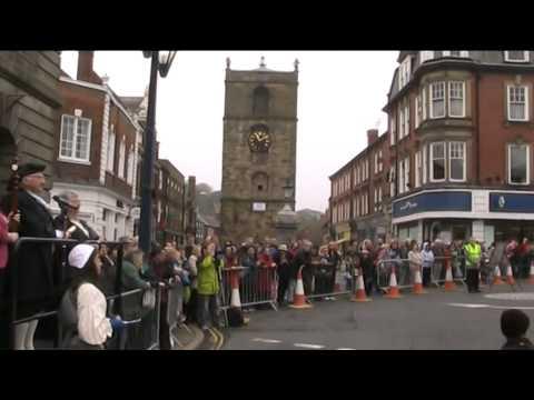 Piping the parade at Morpeth