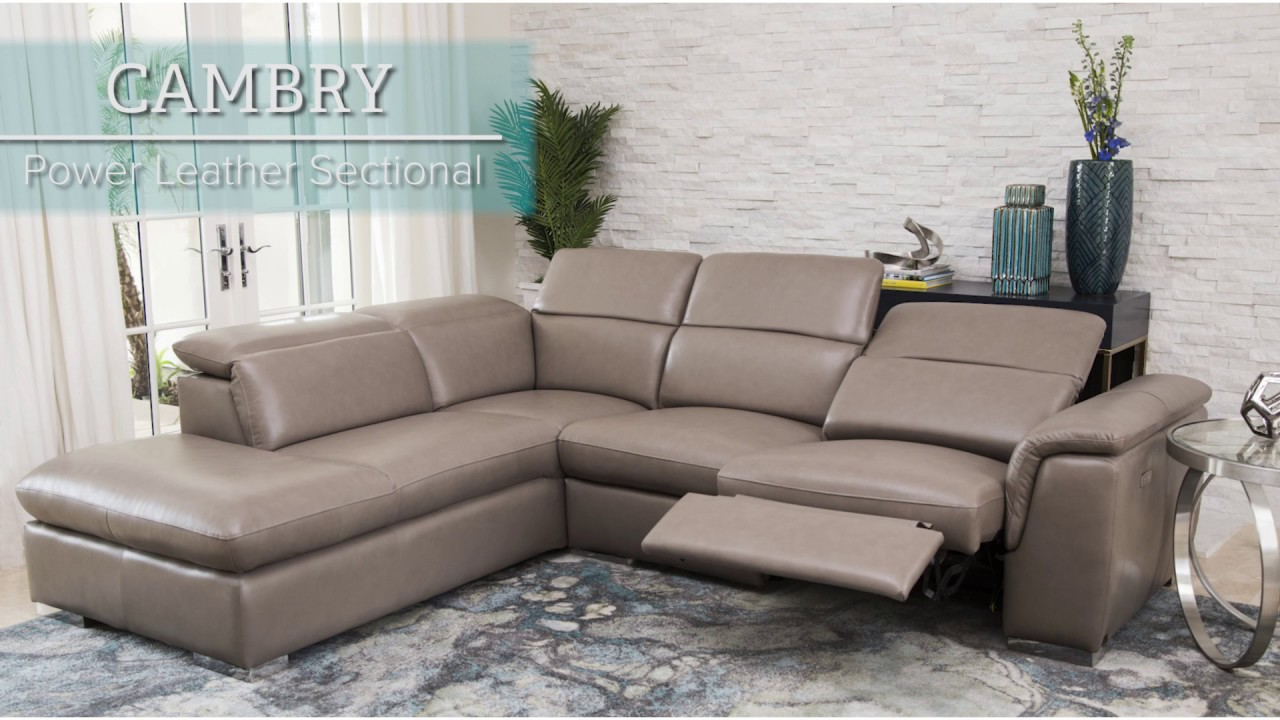 Abbyson Cambry Power Leather Sectional Youtube
