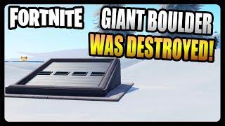 THE GIANT BOULDER WAS DESTROYED REVEALING SECRET BUNKER! (Fortnite Season 7)