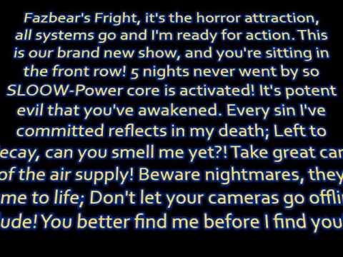 "JT Machinima - ""Another Five Nights (FNAF 3 Rap)"" lyrics"