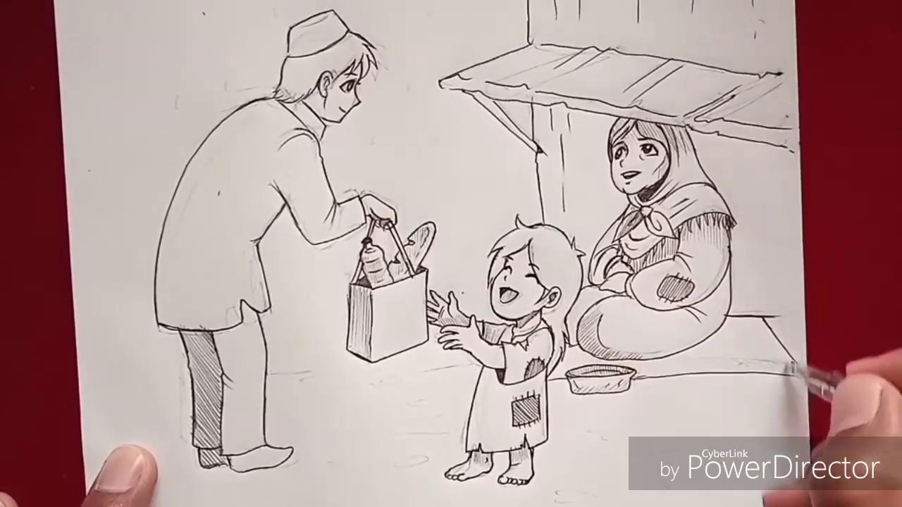 الرسم بالقلم الرصاص مساعدة الفقراء Youtube