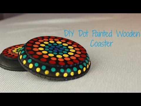 DIY Dot Painted Wooden Coaster | Everything Amanda
