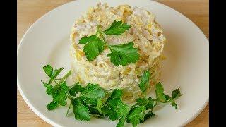 Салат с блинчиками, сытный и вкусный салат с блинчиками из яиц, мясом и курицей.