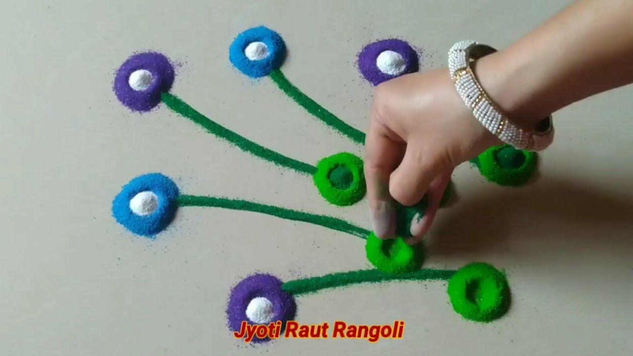 Quick Rangoli in 5 min # Attractive Lotus & Rose flowers design by Jyoti Raut rangoli