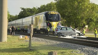 Brightline train crashes into car stopped on tracks