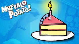How to Draw BIRTHDAY CAKE Using Letters and Numbers with Muffalo Potato