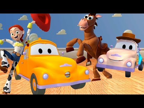Tom the Tow Truck's Paint Shop: Baby Tom Tow Truck is Woody Toy Story Disney Pixar Cartoons Kids