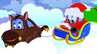 Jingle Bells | Little Red Car Christmas Songs | Rhymes for Kids | Vehicles Cartoons - Kids Channel