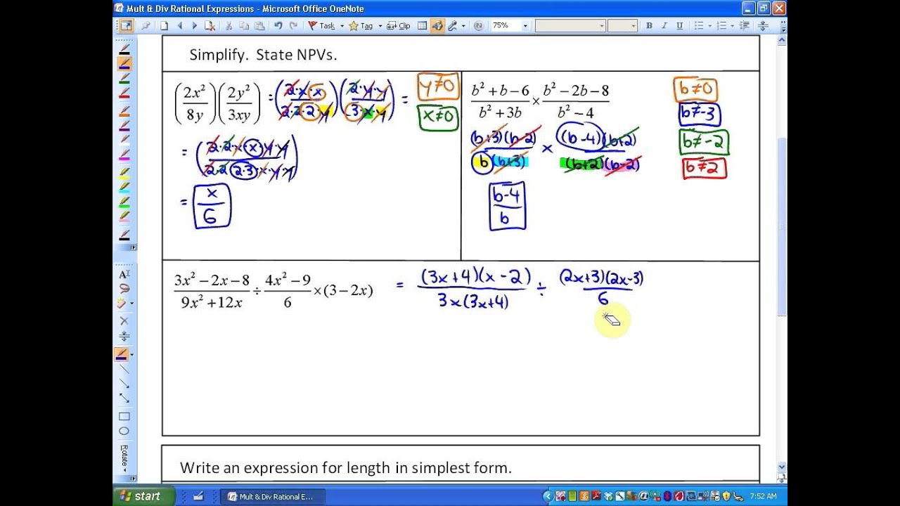 6 2 Multiplying And Dividing Rational Expressions