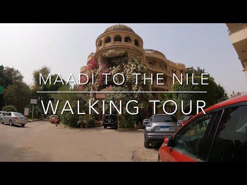 4K Walking from Maadi to the Nile Corniche, Cairo Egypt longplay
