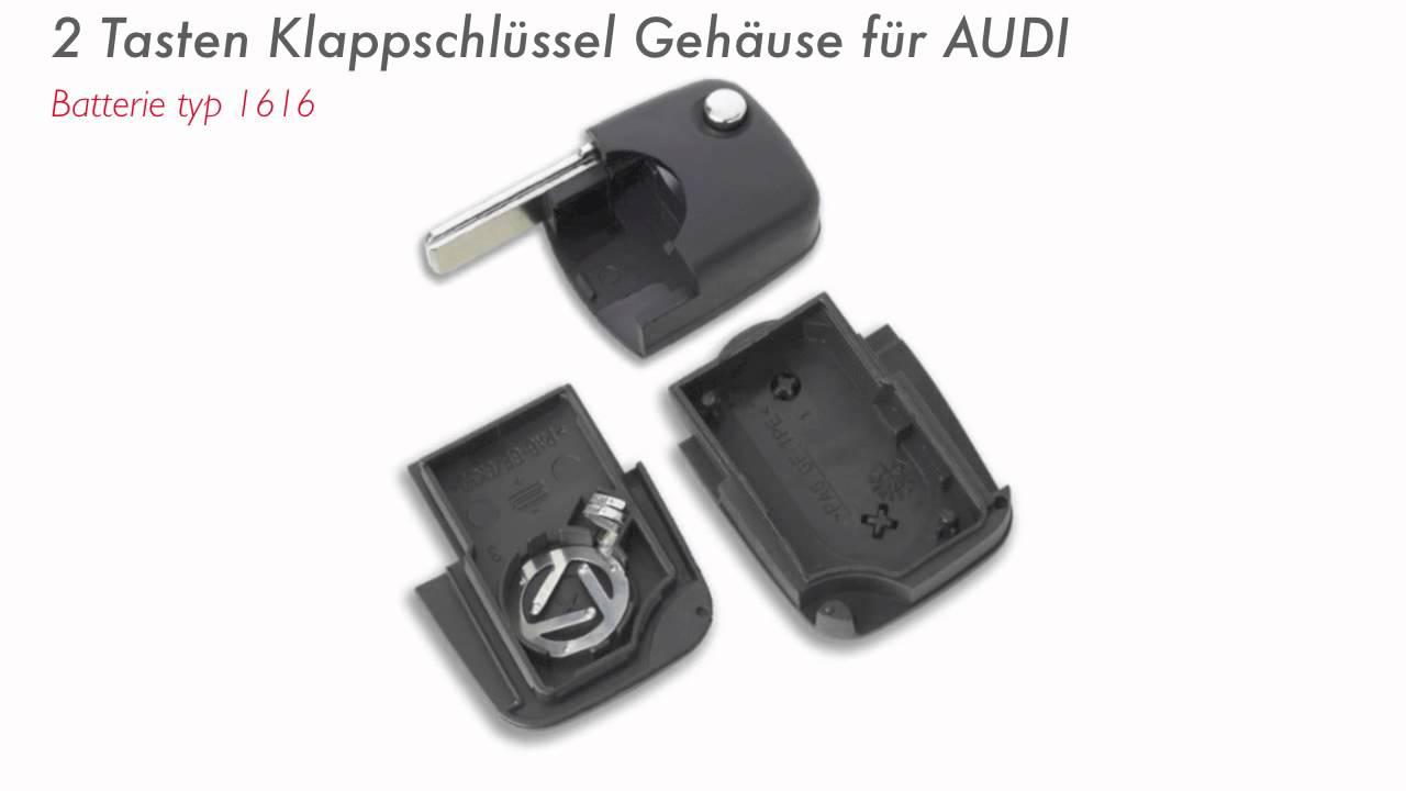 Funkschlussel Gehause Fur Audi A1 A3 A4 A5 A6 A8 Batterie Typ Cr1616 Youtube
