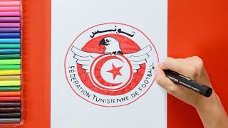 How to draw and color Tunisia National Football Team Logo