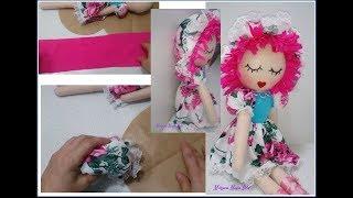 Como Fazer Cabelo de Tecido com Touca Para Boneca de Pano