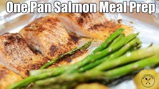 One Pan Roasted Salmon, Asparagus & Potatoes Recipe