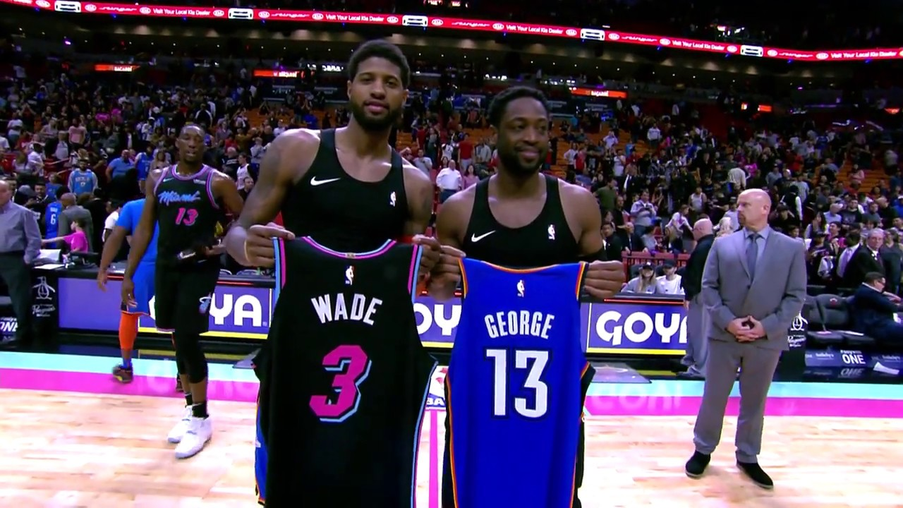 big sale 6da4a fb58c Paul George And Dwyane Wade Exchange Jerseys After Oklahoma City Thunder  vs. Miami Heat Game