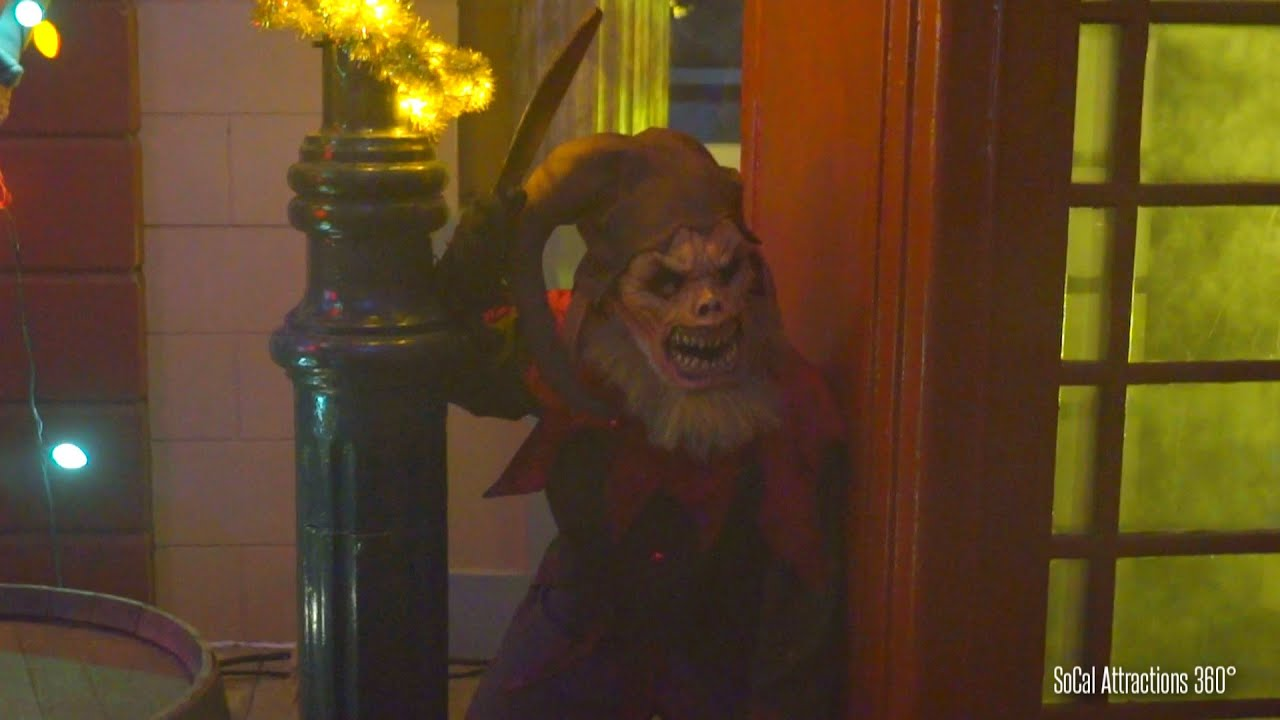 scare zone scary christmas monsters dark christmas corpz halloween horror nights 2015 youtube