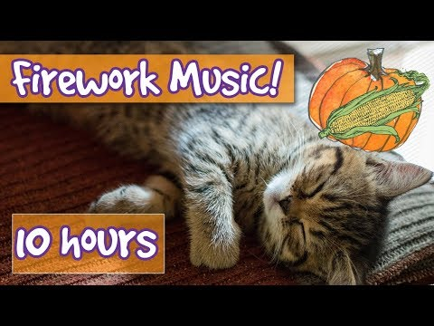 Firework Music for Cats! Relaxing Music for Cats Scared of Fireworks on Thanksgiving, New Years Eve!