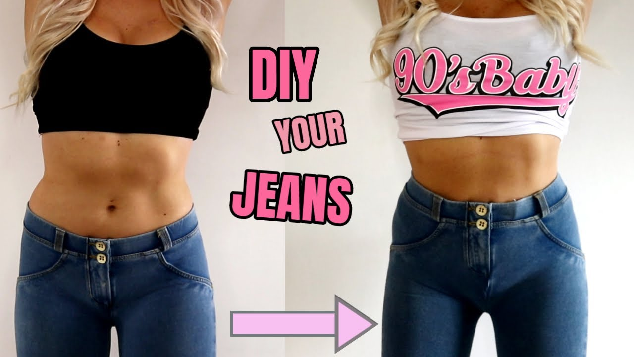 DIY LOW WAIST JEANS TO HIGH WAIST JEANS