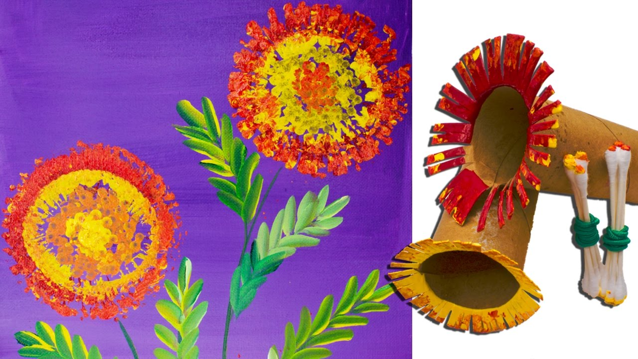 Marigolds with toilet paper roll painting techniques for for Painting toilet paper rolls
