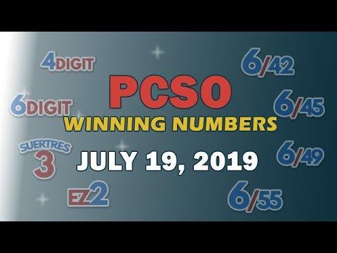 P69M Jackpot Ultra Lotto 6/58, EZ2, Suertres, 4Digit, and Megalotto 6/45 | July 19, 2019