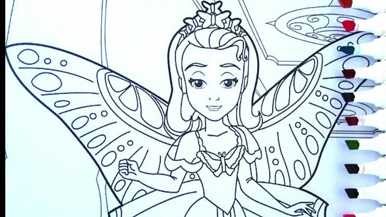 Disney Color Little Princess Butterfly Coloring Pages For Kids Youtube