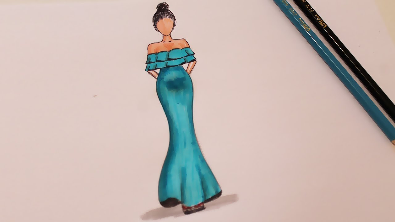 How To Draw A Dress Dress Drawing Design Youtube