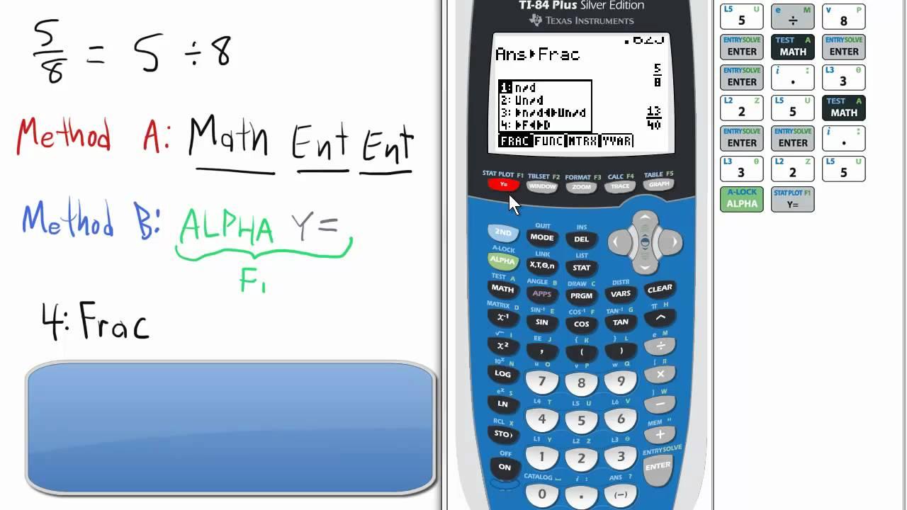 Fraction button fraction conversion ti 84 calculator youtube ccuart Gallery