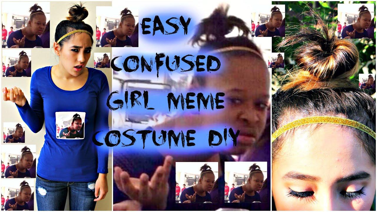 easy, last minute diy confused girl meme halloween costume tutorial
