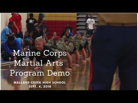 Marine Martial Artists conduct demo for Mallard Creek High School