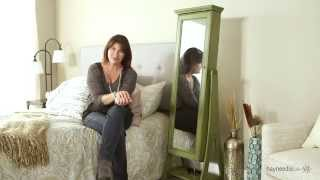 Belham Living Distressed Green Cheval Mirror Jewelry Armoire - Product Review Video