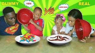 WE HAD TO EAT REAL WORMS! GUMMY FOOD VS REAL FOOD CHALLENGE! | SIS VS BRO | THE BEAST FAMILY