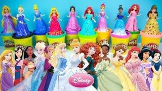 Elsa Anna Rapunzel Merida Cinderella Ariel Snow White Aurora Tiana Belle Disney Princess Play Doh 2