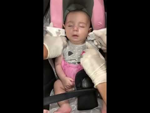 Baby sleeps during Ear Piercing. Watch till the end !! PERFECT RESULT/ NO PAIN/ BACK TO SLEEP