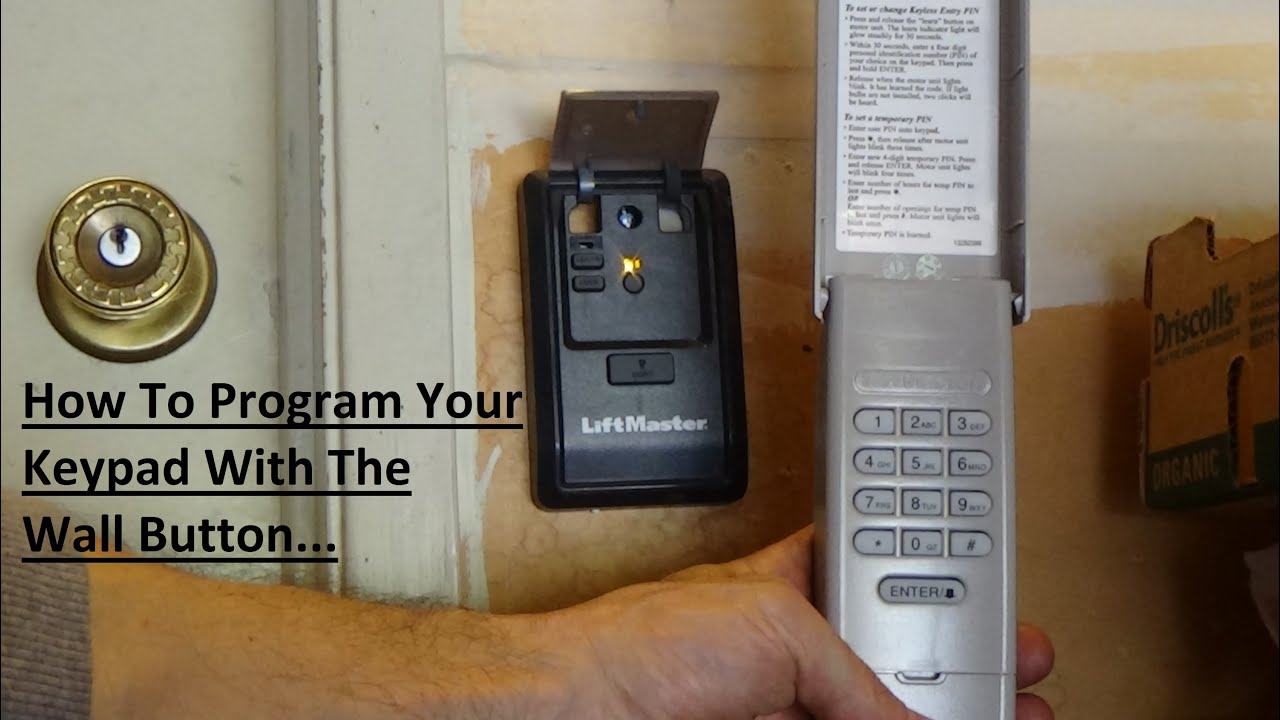 Program Liftmaster 877lm Keypad Via Wall Button Youtube