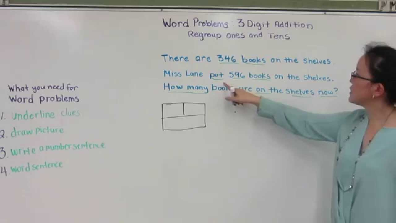 Three-Digit Addition Word Problems - 2nd Grade Math - Class Ace [ 720 x 1280 Pixel ]