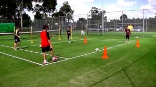 Soccer Skills - short passes, quick feet backwards