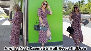 Outfit of the Day -- Just Fashion Now -- Surplice Neck Geometric Half Sleeve Slit Dress
