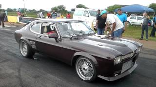 Ford Capri 2jz 12,2s @191kmh in the rain with clutch slipping and soft lunch