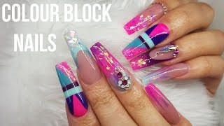 PINK BLUE AND PURPLE LONG ACRYLIC NAILS | BALLERINA SHAPE