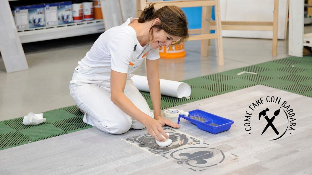 Pavimento laminato decorato a stencil obi