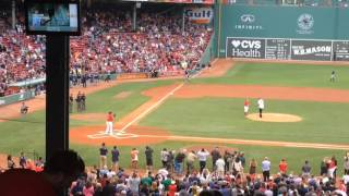 Boston Celtic Al Horford throws out first pitch to Red Sox David Ortiz at Fenway Park